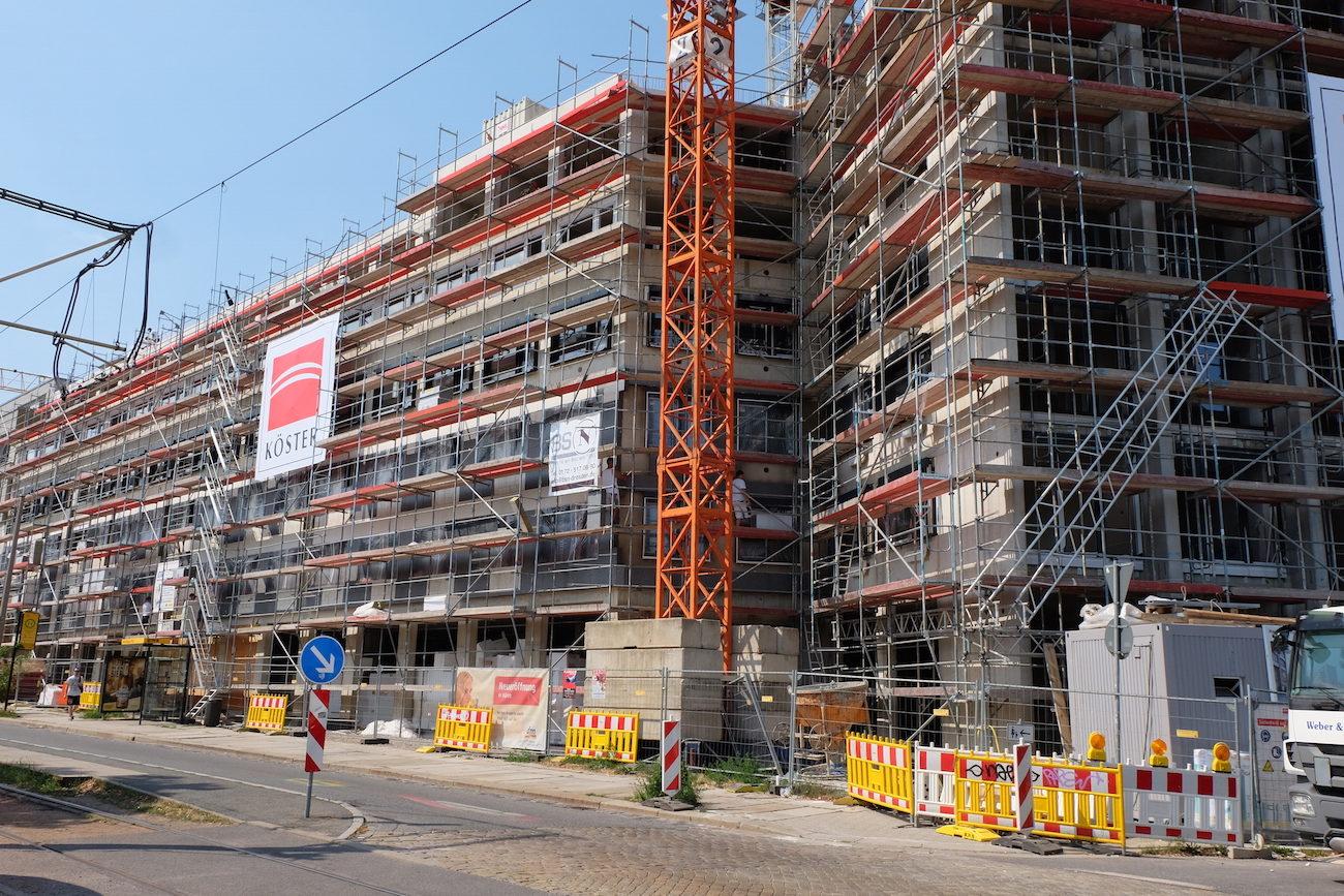 Foto vom Neubau eines Studentenwohnheims in Dresden